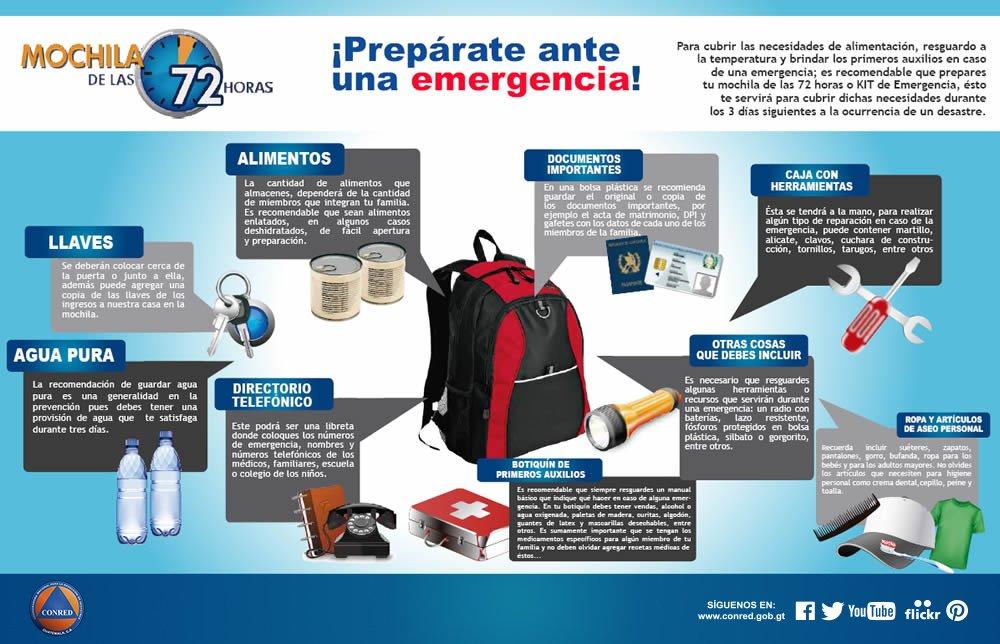 Preparativos para una emergencia, Conred