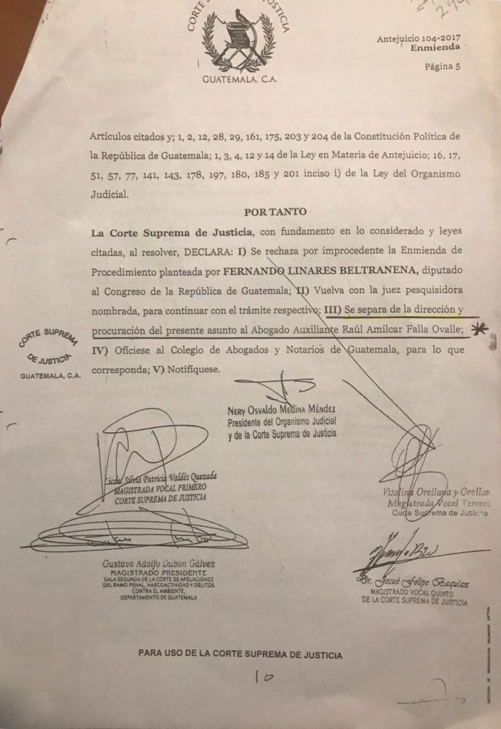 Resolución de la CSJ caso Fernando Linares Beltranena