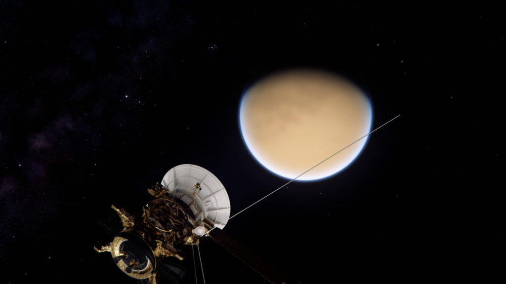NG Saturn - CGI showing the Cassini spacecraft as it approaches Saturns largest moon Titan. The Cassini spacecraft is carrying a European built probe named Huygens