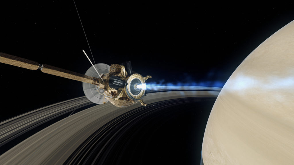 NG Saturn - CGI showing the Cassini spacecraft as it approaches Saturns largest moon Titan. The Cassini spacecraft is carrying a European built probe named Huygens (3)