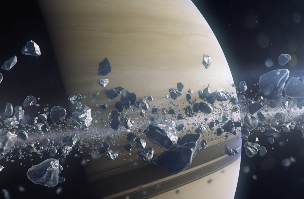 NG Saturn - CGI showing the Cassini spacecraft as it approaches Saturns largest moon Titan. The Cassini spacecraft is carrying a European built probe named Huygens (4)