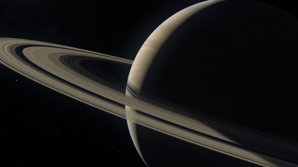 NG Saturn - CGI showing the Cassini spacecraft as it approaches Saturns largest moon Titan. The Cassini spacecraft is carrying a European built probe named Huygens (5)