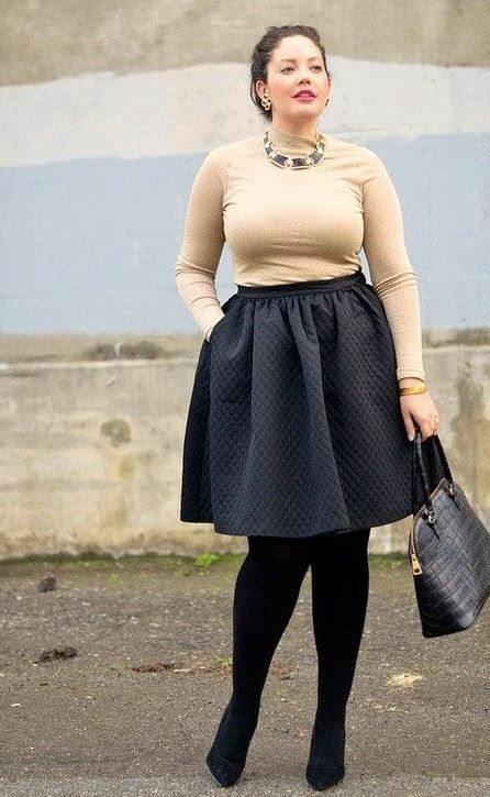 Falda, moda, manga larga, plus size, frío, invierno, diciembre