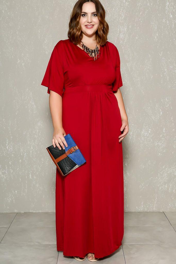 fiesta, rojo, maxi vestido, formal, color, collar, clutch, boda, invitada, plus size, XL, verano, tallas grandes, moda