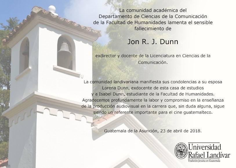 Jon Dunn, landivar, comunicación, enseñanza, epitafio