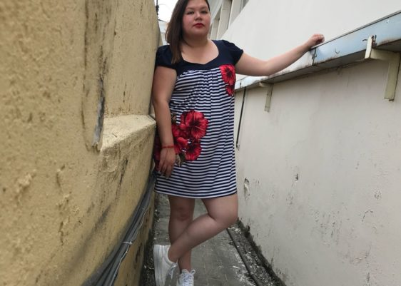 vestido, Enfocus Women, Megapaca, zapatillas, blancas, New Trend Shop, plus size, rayas, horizontales, moda,