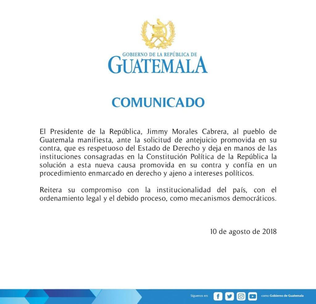 Piden por 3ra vez retirar inmunidad a presidente Jimmy Morales